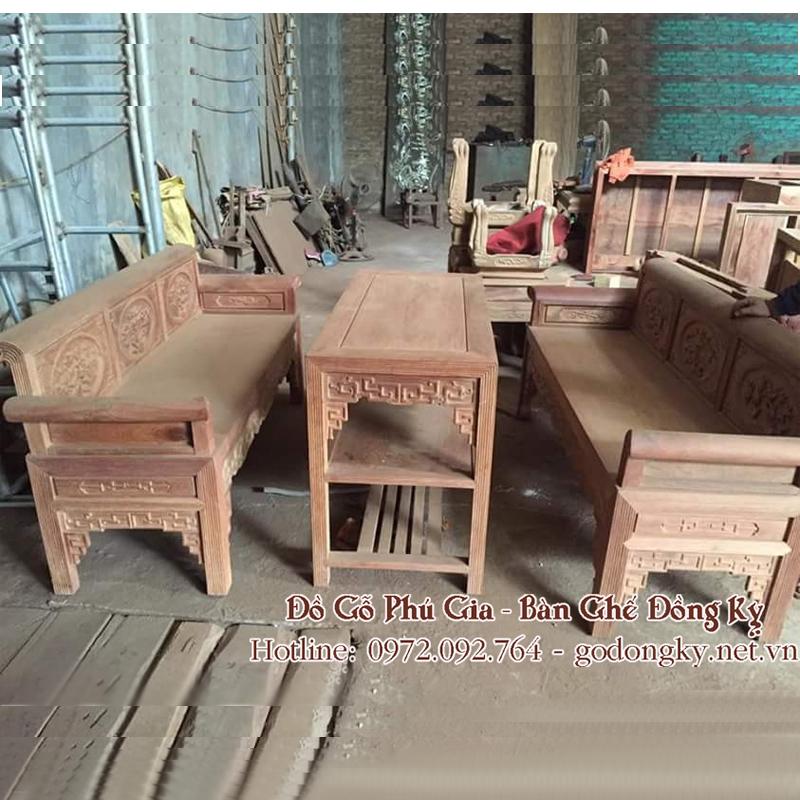 Bộ trường kỷ gỗ hương kiểu cổ