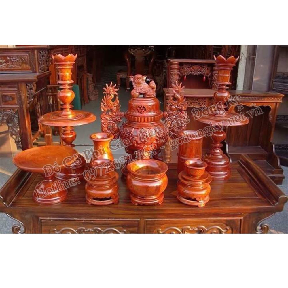 Bộ Đèn Thờ Gỗ Hương cao 81 cm
