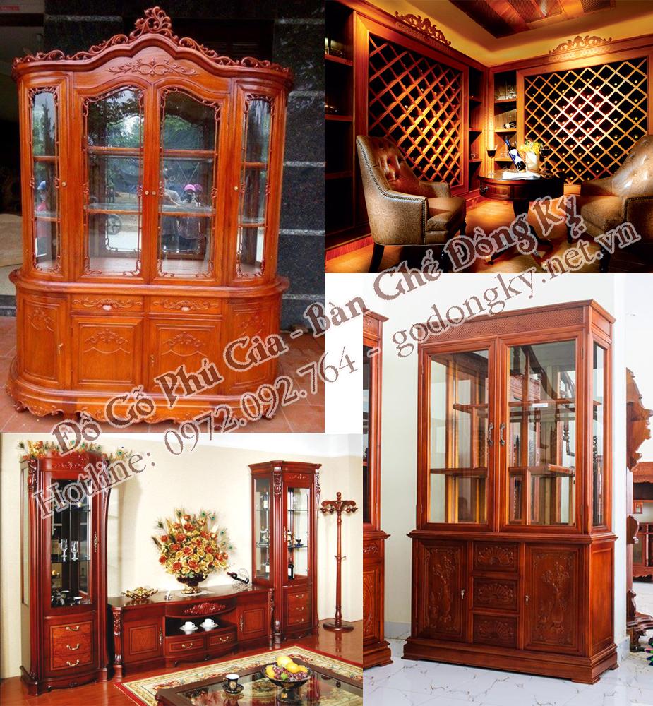 Nội thất phòng khách sang trọng với tủ bày rượu bằng gỗ