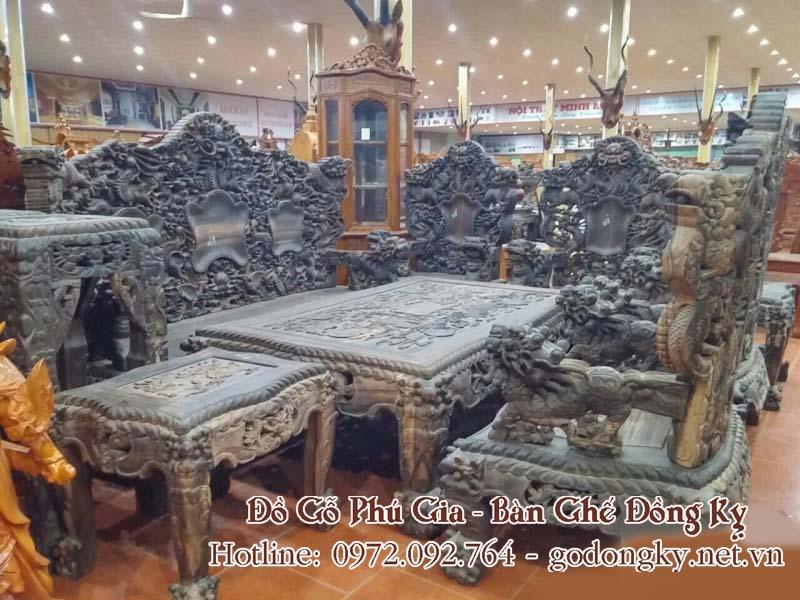 bàn ghế phòng khách gỗ mun đồng kỵ