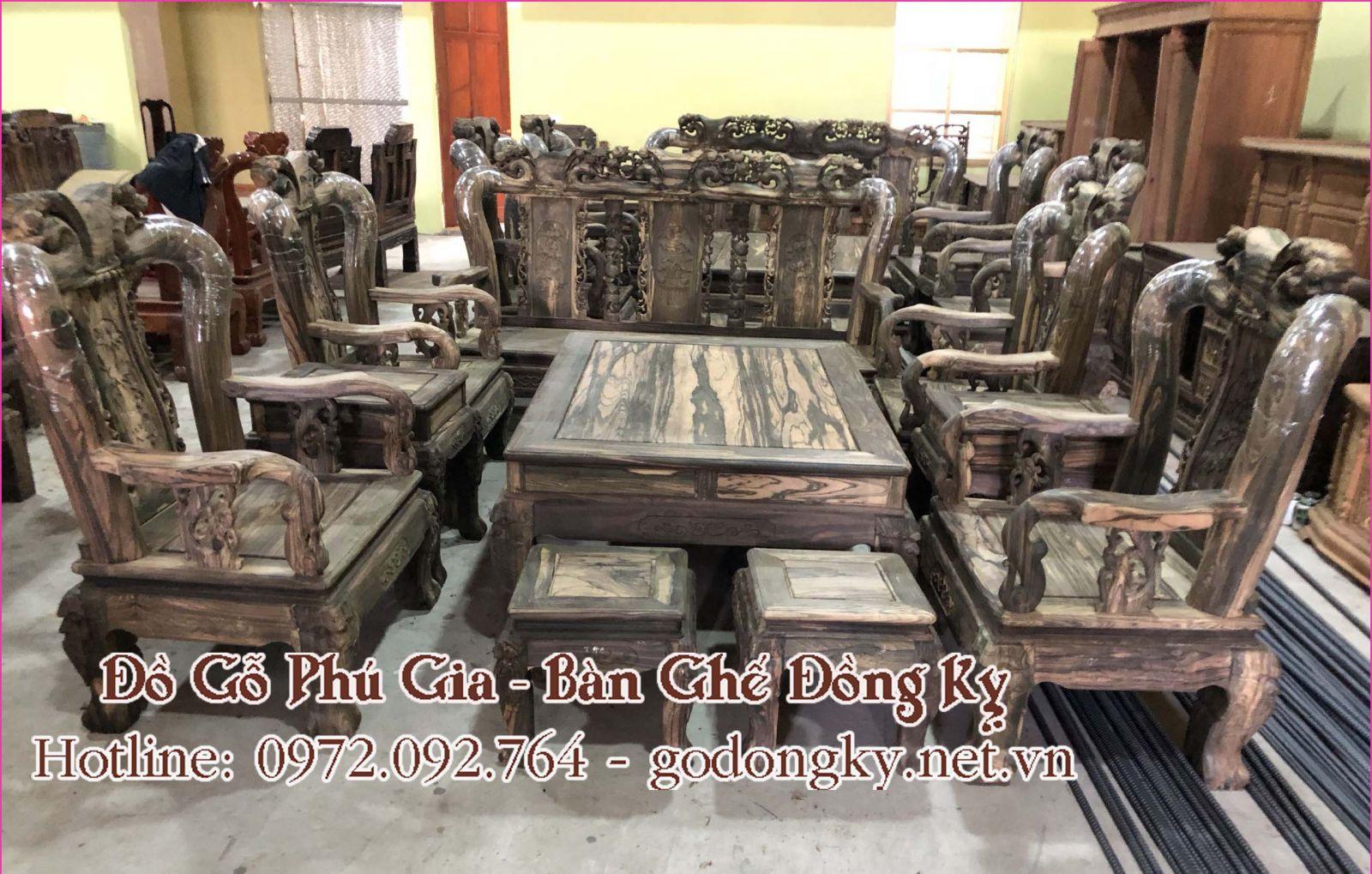 bộ bàn ghế phòng khách gỗ mun sọc