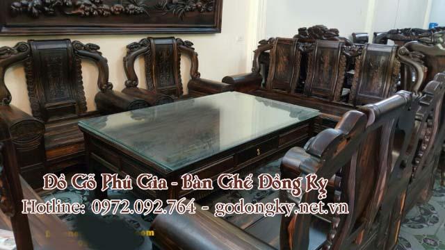 bàn ghế đồng kỵ gỗ mun đen