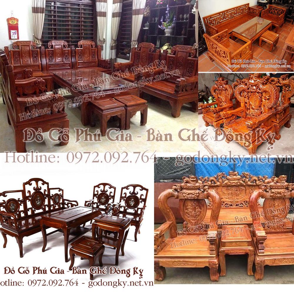 bàn ghế phòng khách gỗ hương giá rẻ