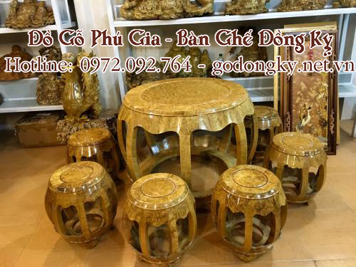 bộ bàn ghế minh trống gỗ nu nghiến