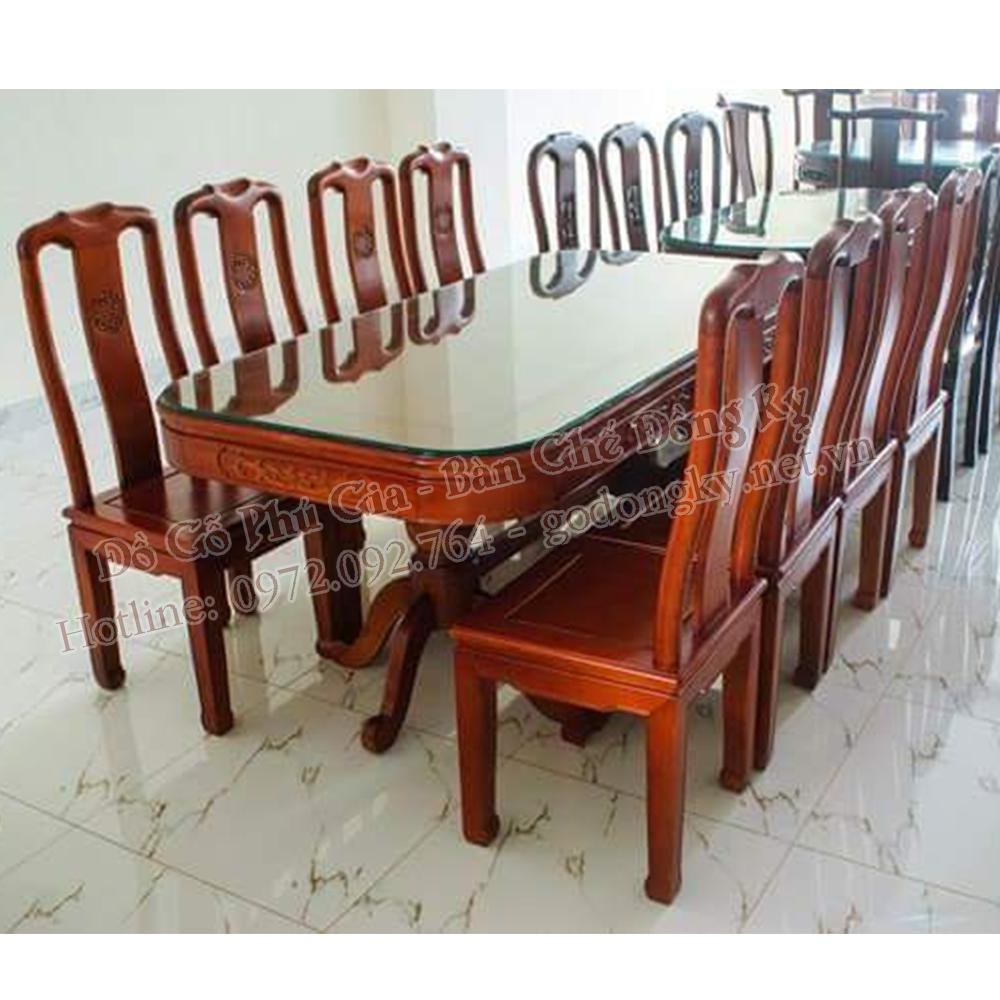 bộ bàn ăn triện thọ gỗ gụ