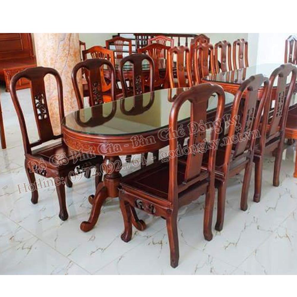 Bộ bàn ghế ăn vách cá gỗ gụ