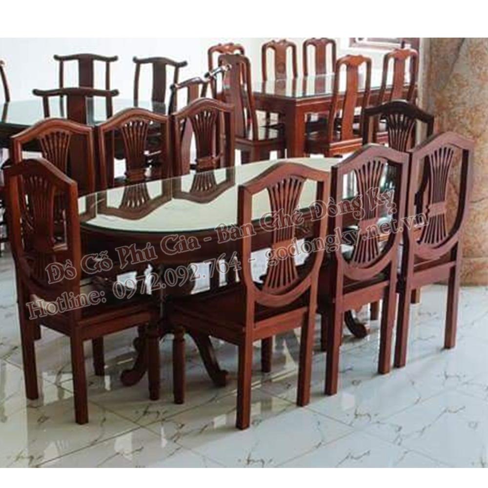 Bộ bàn ăn vách lan gỗ hương