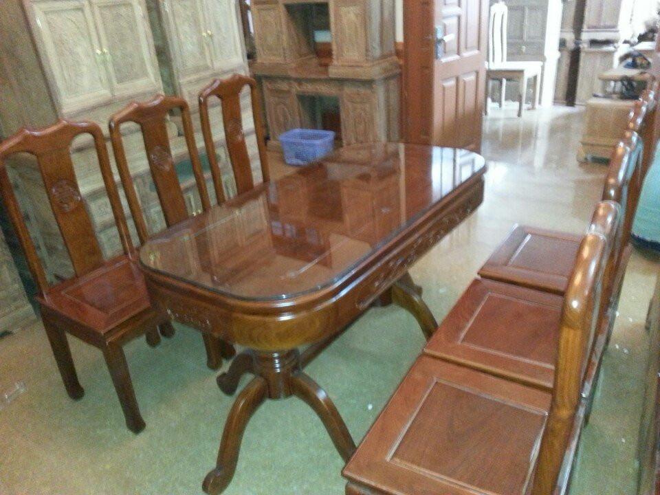 bộ bàn ăn triện chữ nho gỗ hương