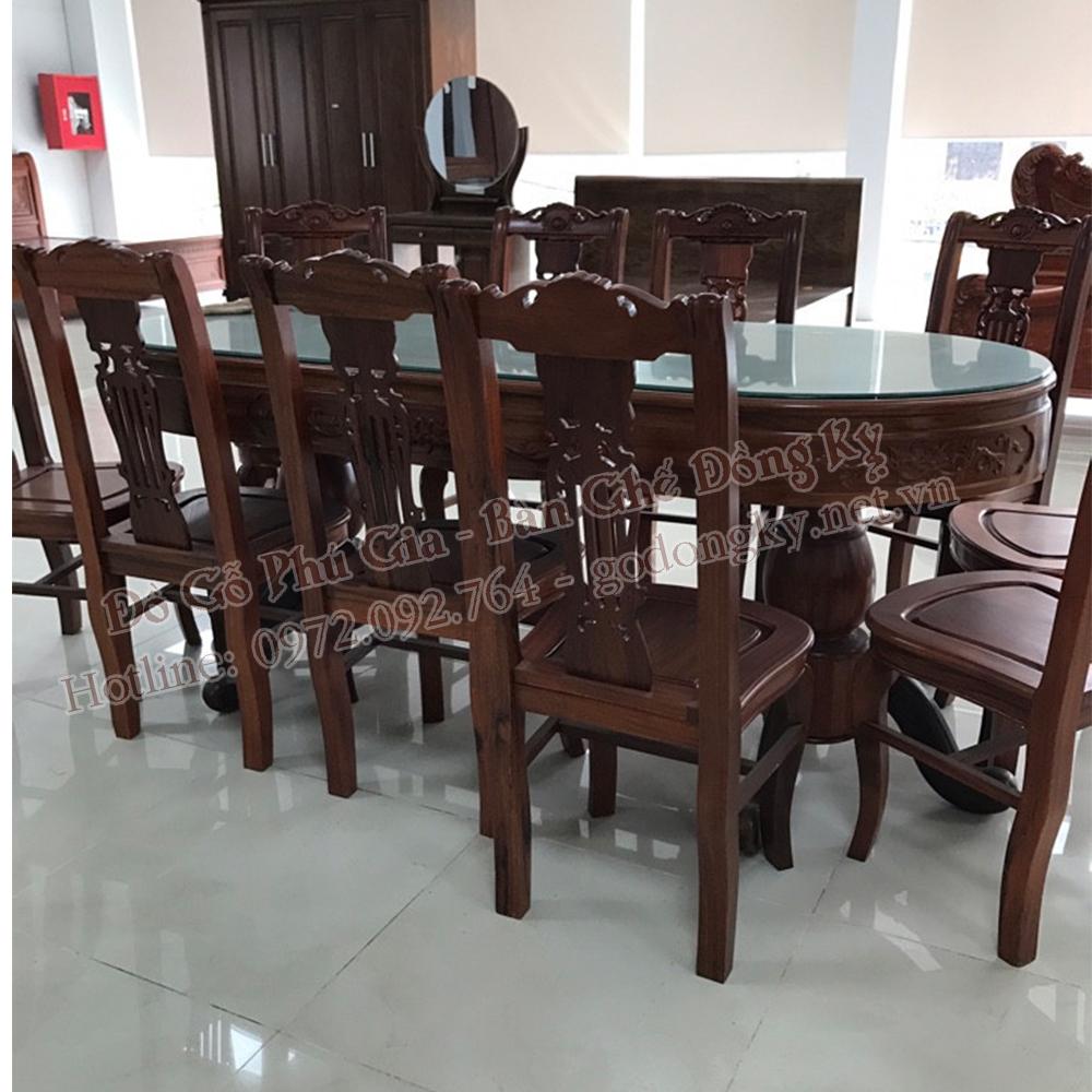 bộ bàn ăn vách đàn gỗ gụ