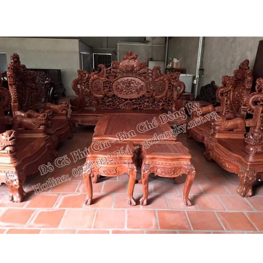 bàn ghế rồng đỉnh 12 món gỗ hương