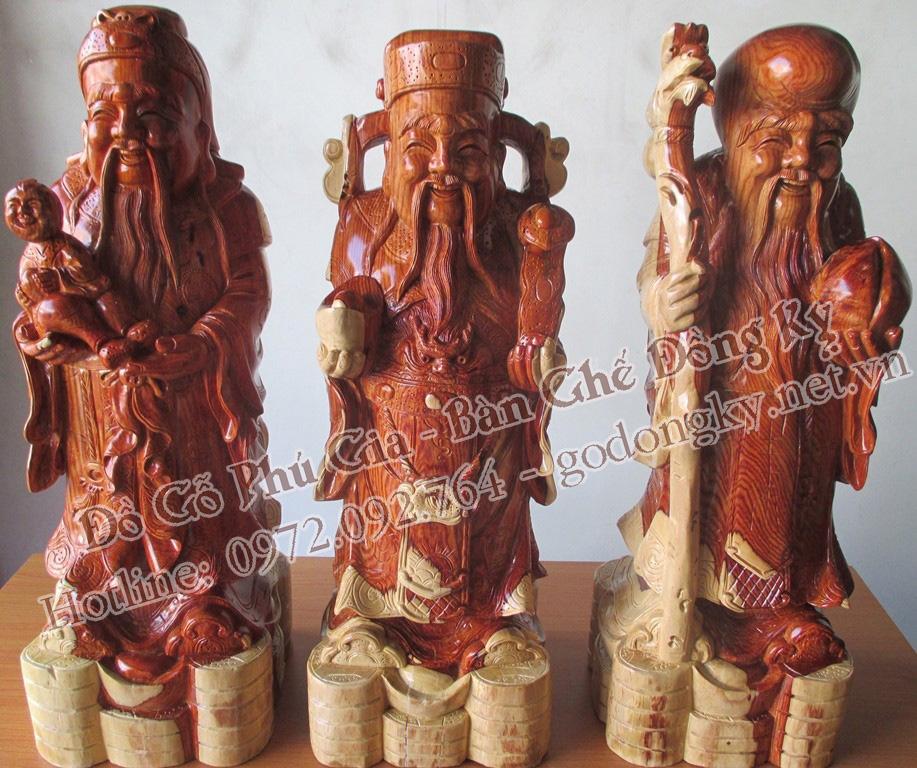 tượng phúc lộc thọ gỗ cẩm lai