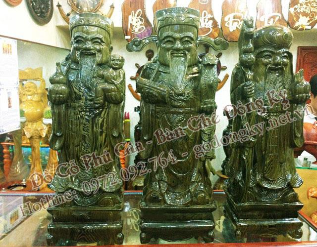 tượng tam đa phúc lộc thọ gỗ thủy tùng xanh
