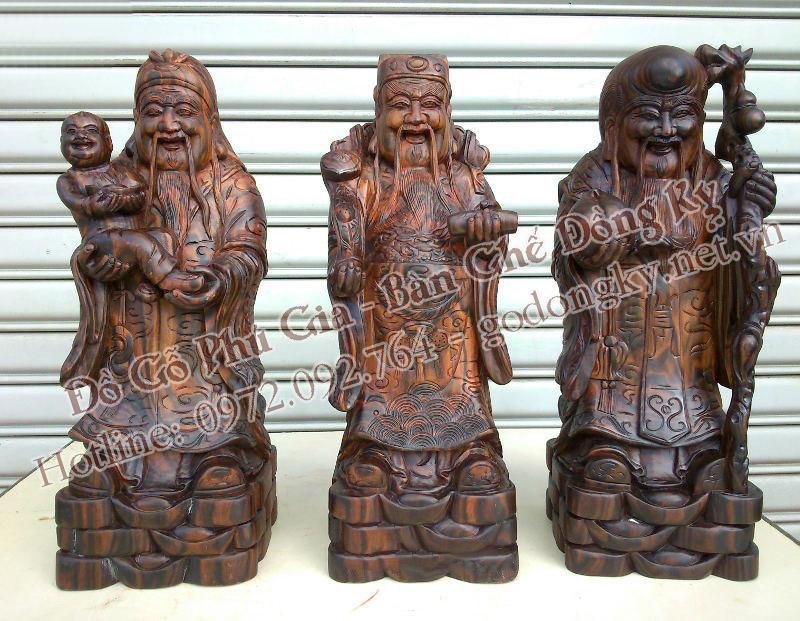 tượng phúc lộc thọ gỗ mun sọc