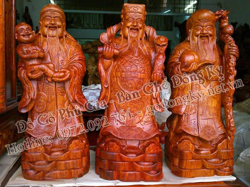 tượng phúc lộc thọ gỗ sưa