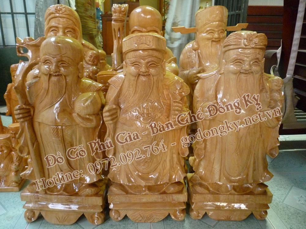 tượng phúc lộc thọ gỗ thông