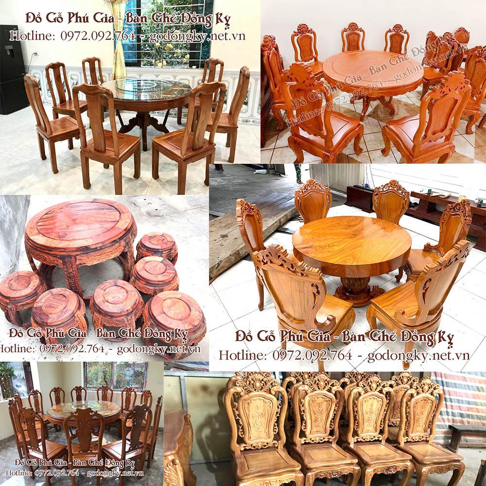 Tổng hợp các mẫu bàn ghế phòng ăn mặt tròn đồ gỗ đồng kỵ