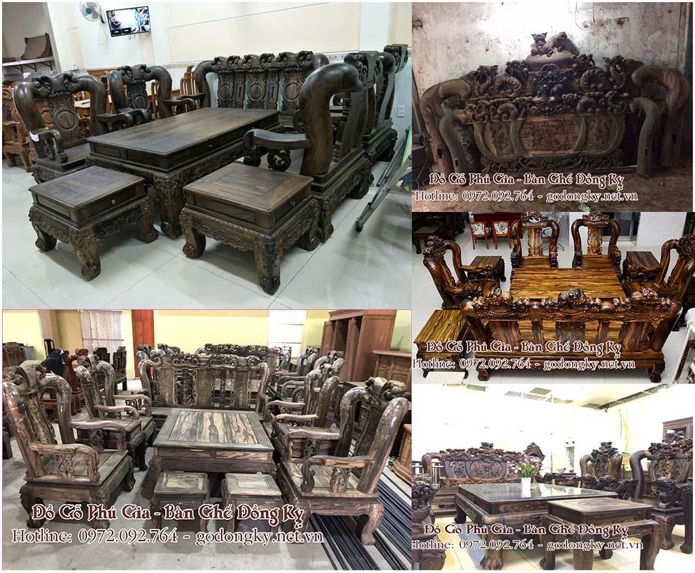 Bộ bàn ghế phòng khách gỗ mun