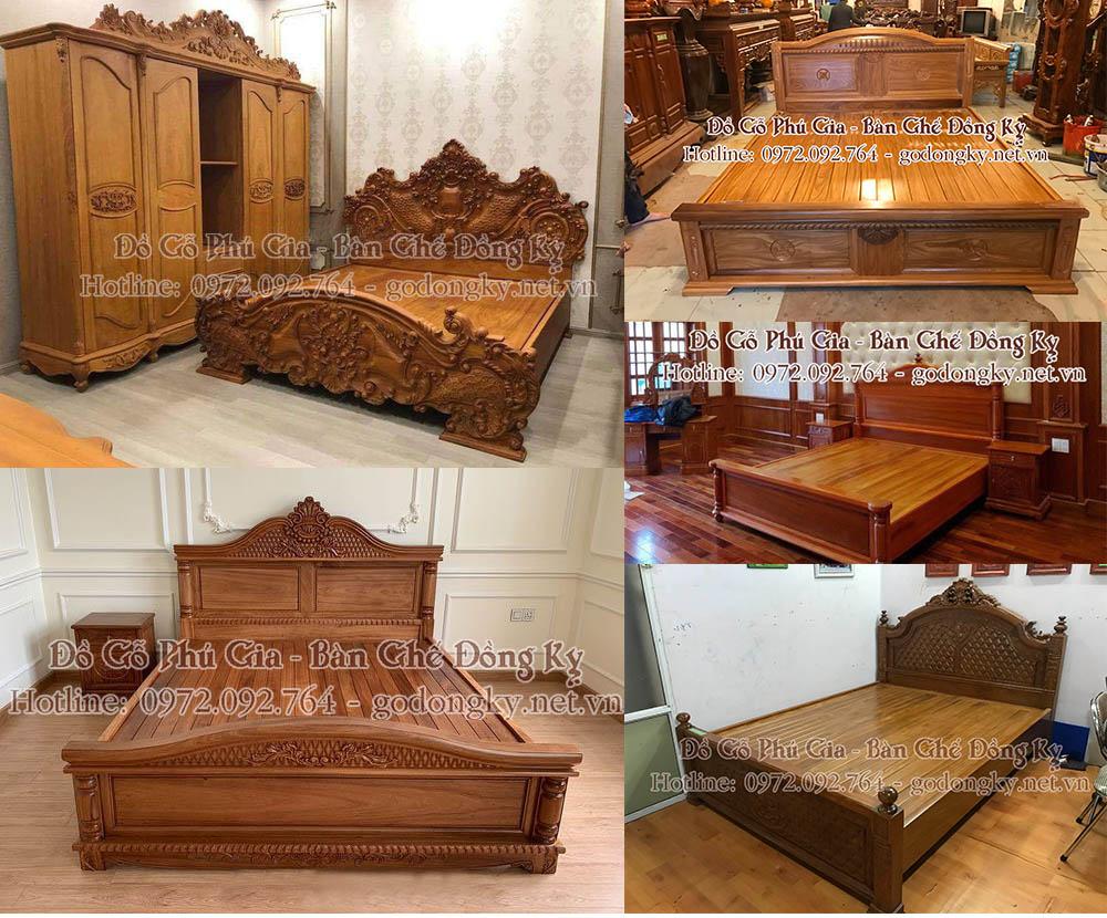 Tổng hợp các mẫu giường ngủ đồ gỗ đồng kỵ Phú Gia p1