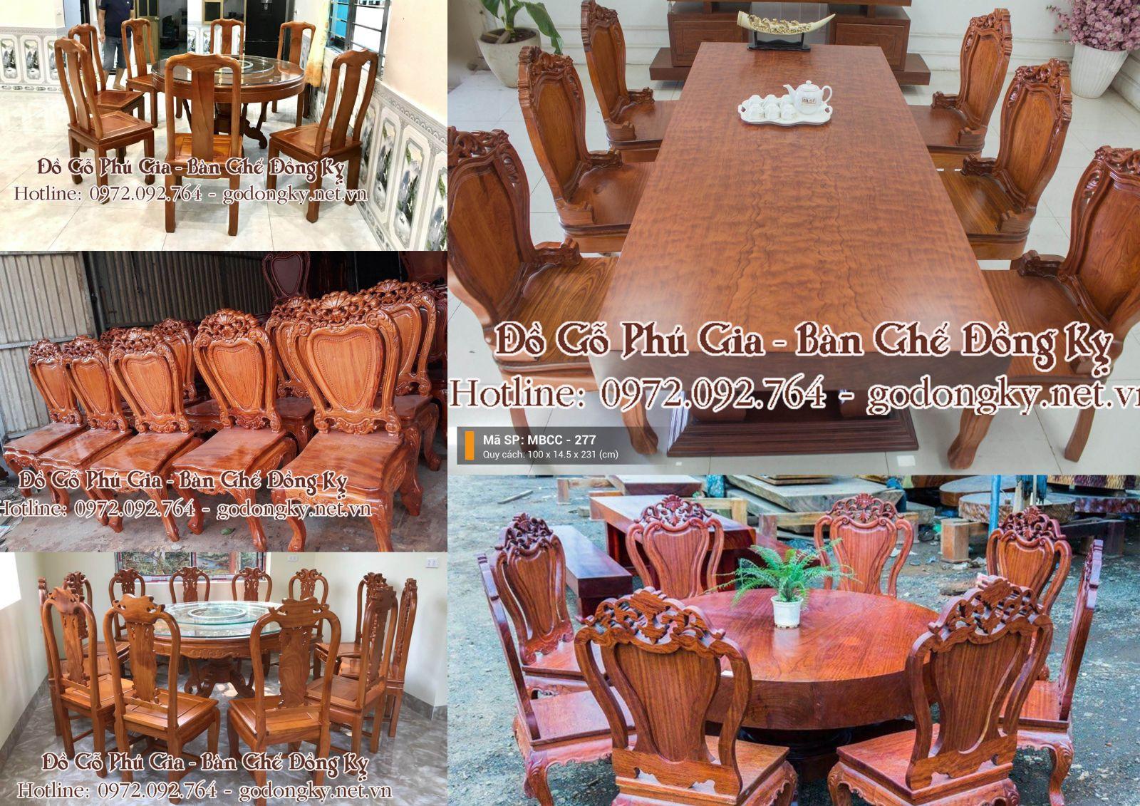 Bàn ghế ăn đồ gỗ đồng kỵ