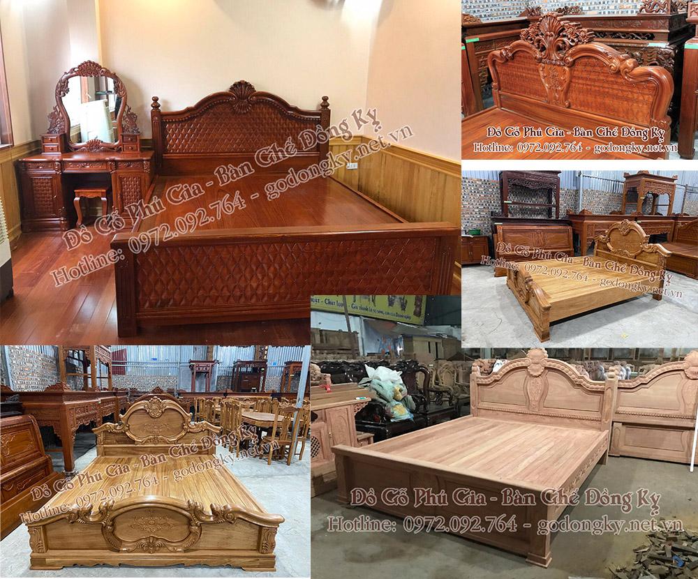 Tổng hợp các mẫu giường ngủ đồ gỗ đồng kỵ Phú Gia p2